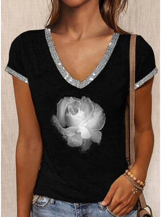 Floral Print Sequins V-Neck Short Sleeves T-shirts