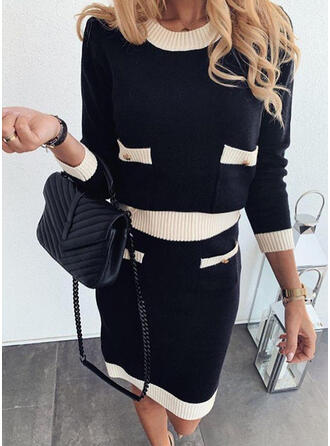 Color Block Long Sleeves Shift Knee Length Casual Sweater Dresses