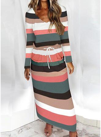 W paski Długie rękawy Pokrowiec Nieformalny Maxi Sukienki