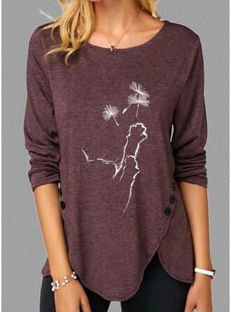 Animal Print Dandelion Round Neck Long Sleeves Casual T-shirts