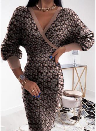 Nadruk Długie rękawy Bodycon Długośc do kolan Nieformalny Ołówkowa Sukienki