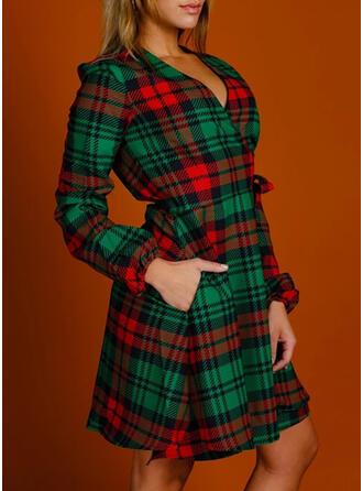 W kratę Długie rękawy Pokrowiec Nad kolana Boże Narodzenie/Casual Sukienki