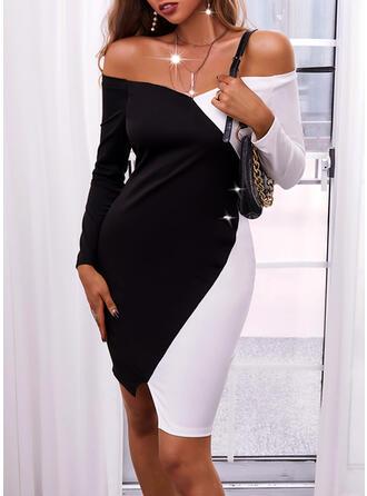 Blok Koloru Długie rękawy Bodycon Długośc do kolan Elegancki Sukienki