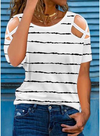 Nadruk Zimne ramię Krótkie rękawy T-shirty