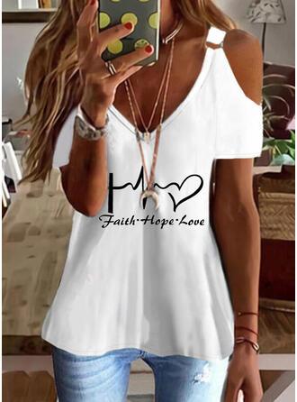Serce Nadruk Wytłaczany Zimne ramię Krótkie rękawy T-shirty