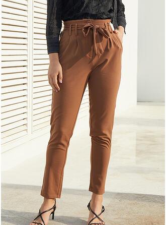 Marszczona Kokarda Długo Elegancki Seksowny Spodnie