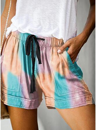 Blok Koloru Nad kolanem Nieformalny Wakacyjna Pocket drawstring Spodnie