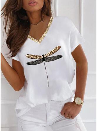 Nadruk Zwierzęcy cekiny Dekolt w kształcie litery V Krótkie rękawy T-shirty