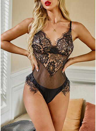 Polyester Spandex Lace Sexy Deep V Backless Lingerie Set