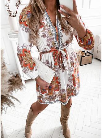 Nadruk Długie rękawy Pokrowiec Nad kolana Nieformalny Sukienki