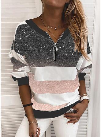 Color Block Sequins V-Neck Long Sleeves Sweatshirt