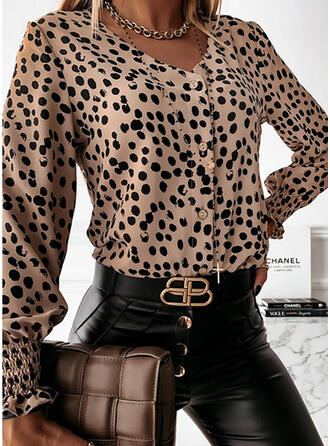 PolkaDot V-Neck Long Sleeves Button Up Casual Blouses