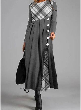 W kratę Długie rękawy W kształcie litery A Łyżwiaż Casual Maxi Sukienki