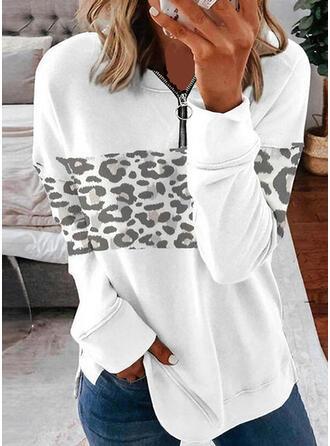 lampart Dekolt w kształcie litery V Długie rękawy Bluza