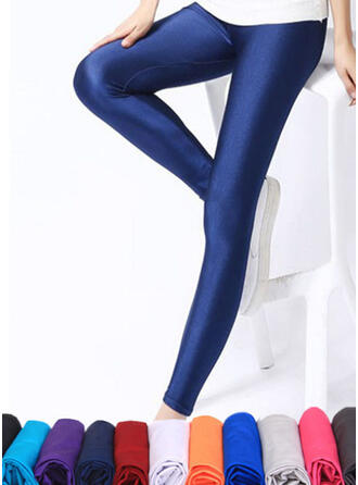Solid Sexy Leather Vintage Stretchy Leggings