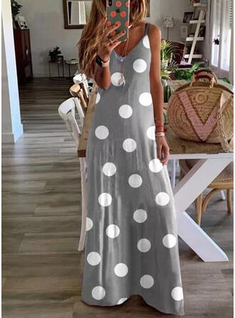 PolkaDot Sleeveless Shift Slip Casual Maxi Dresses