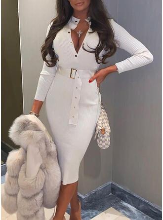 Jednolita Długie rękawy Bodycon Sweter Casual Midi Sukienki