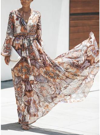 Nadrukowana Długie rękawy W kształcie litery A Casual/Boho/Wakacyjna Maxi Sukienki