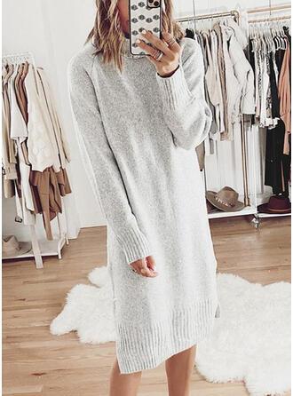 Jednolita Długie rękawy Koktajlowa Sweter Casual Midi Sukienki