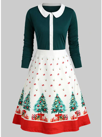 Nadrukowana Długie rękawy W kształcie litery A Długośc do kolan Boże Narodzenie/Przyjęcie Łyżwiaż Sukienki