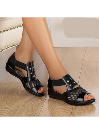 Women's PU Flat Heel Sandals Flats Peep Toe With Rivet Hollow-out shoes