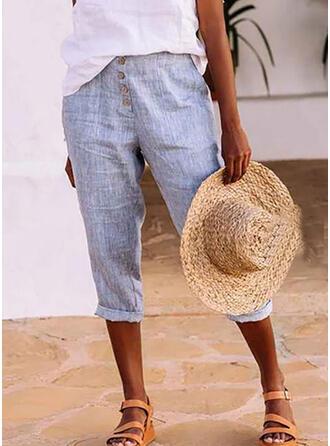 Jednolity Bielizna Capris Nieformalny shirred Spodnie Spodnie Lounge