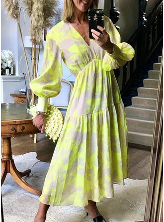 Nadrukowana Długie rękawy/Rękaw latarnia W kształcie litery A Łyżwiaż Casual Maxi Sukienki