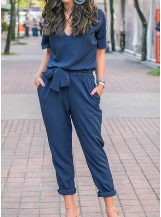Solid V-Neck Short Sleeves Casual Elegant Jumpsuit