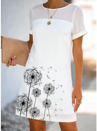 Nadrukowana Krótkie rękawy Koktajlowa Nad kolana Casual Sukienki
