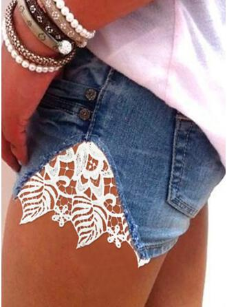 Jednolity Bawełna Koronka Nad kolanem Nieformalny Pocket Przycisk Spodnie Szorty Dżinsy