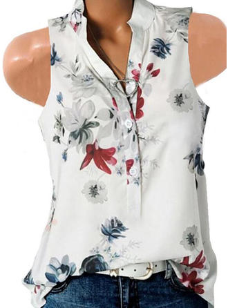 Nadruk Kwiatowy Dekolt w kształcie litery V Bez rękawów Zapięcie na guzik Casual Bluzki
