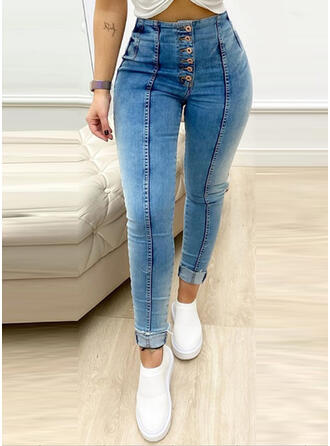 Patchwork Shirred Elegant Sexy Skinny Denim & Jeans