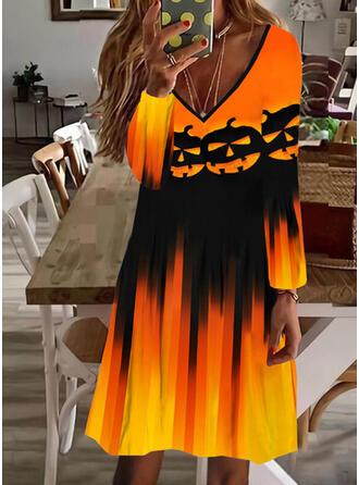 Halloween Nadruk Długie rękawy Suknie shift Długośc do kolan Impreza Tunika Sukienki