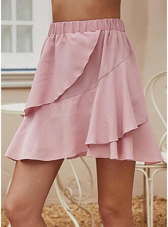 Cotton Blends Plain Above Knee A-Line Skirts