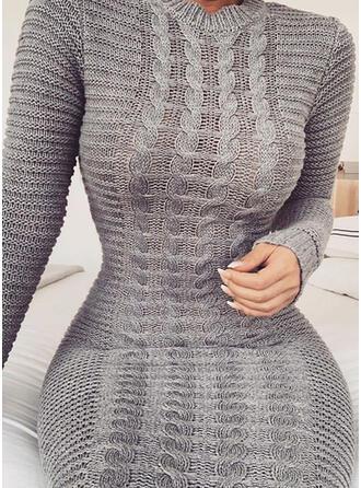 Jednolity Prążkowana dzianina Okrągły dekolt Dopasowany Sukienka sweterkowa