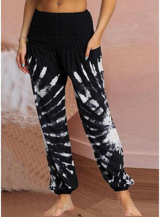 Marszczona Tie Dye Długo Nieformalny Seksowny Spodnie
