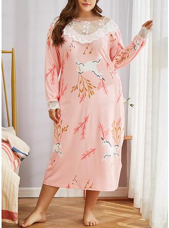 Poliester Koronka Kwiatowy Duży rozmiar Okrągły dekolt Długie rękawy Zestaw do piżamy