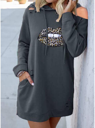 lampart Długie rękawy Koktajlowa Nad kolana Casual Bluza Sukienki