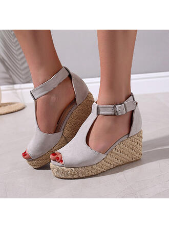 Women's Suede Wedge Heel Sandals Platform Wedges Peep Toe Heels With Buckle Animal Print Hollow-out shoes