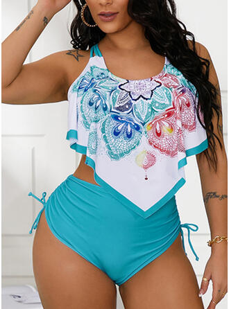 Triangle Ruffles Knotted Strap U-Neck Fashionable Beautiful Casual Tankinis Swimsuits