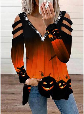 Halloween Nadruk Zimne ramię Długie rękawy T-shirty
