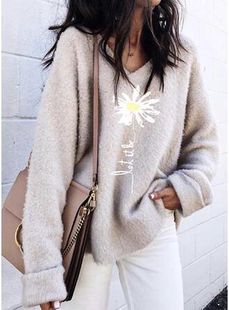Nadruk Kwiatowy Dekolt w kształcie litery V Casual Swetry