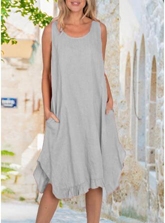 Jednolita Bez rękawów Koktajlowa Casual Midi Sukienki
