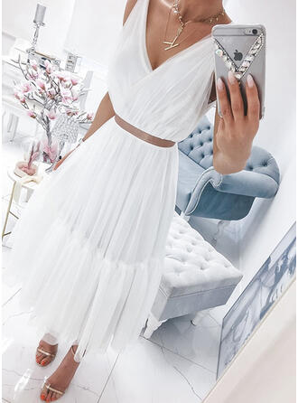 Solid Sleeveless A-line Skater Casual Maxi Dresses
