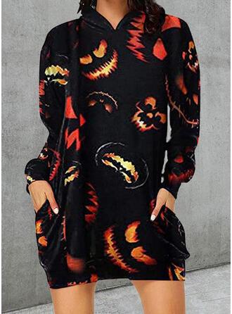 Halloween Nadruk Długie rękawy Suknie shift Nad kolana Nieformalny Tunika Sukienki