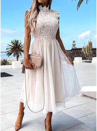 Jednolity Koronka Krótkie rękawy Small Latający Rękaw Sukienka Trapezowa Łyżwiaż Elegancki Midi Sukienki