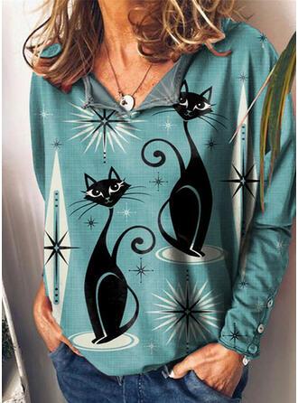 Nadruk Zwierzę Dekolt w kształcie litery V Długie rękawy T-shirty