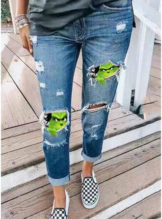 Patchwork Print Ripped Christmas Sexy Vintage Denim & Jeans