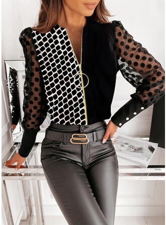 Print Color Block PolkaDot V-Neck Long Sleeves Button Up Elegant Blouses