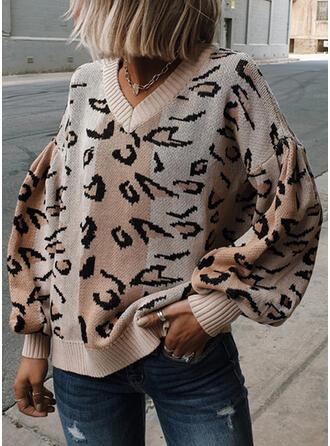 lampart Dekolt w kształcie litery V Casual Swetry